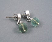 Moss Aquamarine  Earrings on Matte Silver Stud Wires Handmade Earrings
