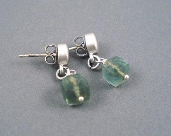Moss Aquamarine  Earrings on Matte Silver Stud Wires Handmade Earrings