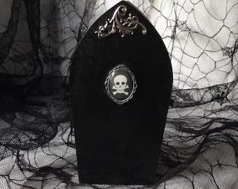 Black Skull Filigree Goth Wood Coffin Box