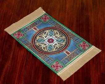 Celtic Knotwork Rug, Medieval Dollhouse Miniature 1/12 Scale, Hand Made