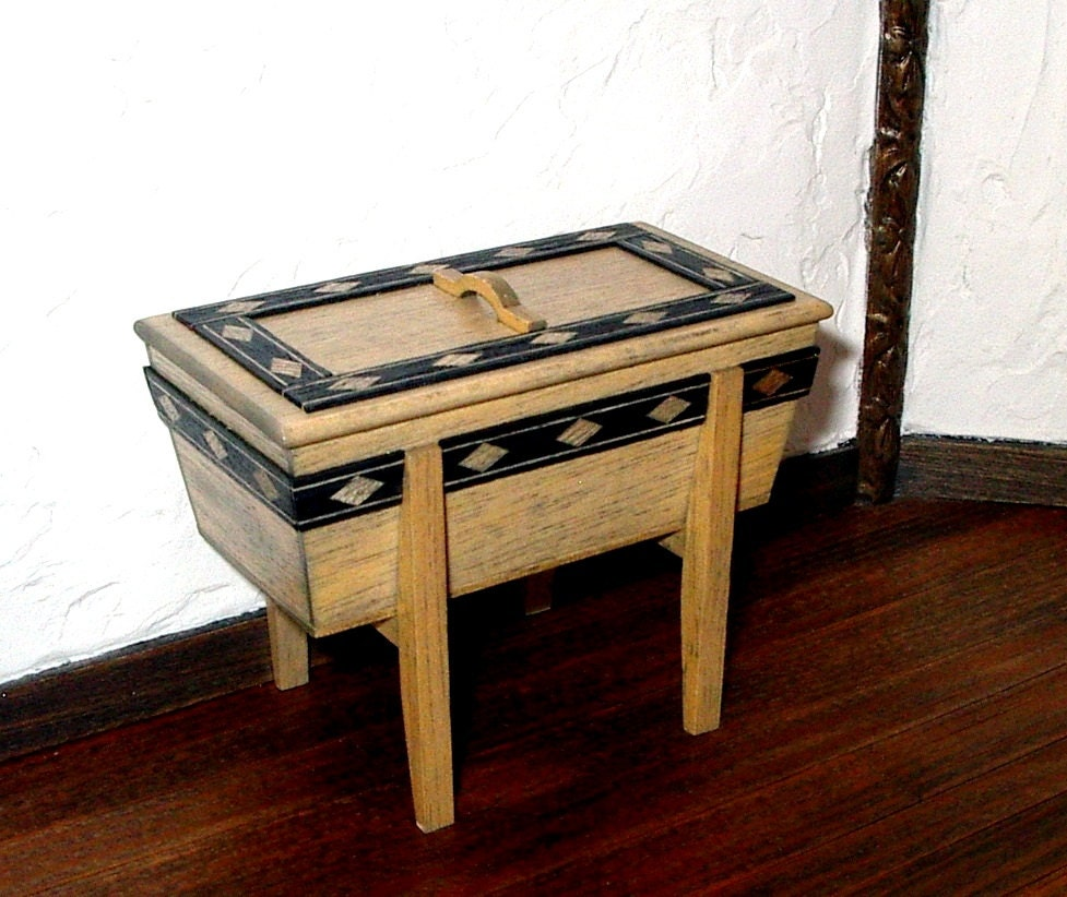 Dough Box Rustic Dollhouse Miniature 1/12 Scale Hand Made