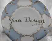 "Customizable Dinner Plate, 10.5"", Blue Gold Dinnerware, Customizable Dish, Personalized Plate, Personalized Dish, Bespoke Wedding Plate"
