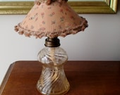 Collectible Clear Glass Swirl Base Miniature Lamp, Original Lamp Shade and Wick, Globe and Base