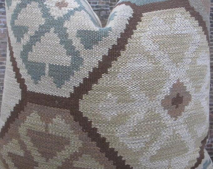 Limited  - Designer Pillow Cover -  16 x 16 - Lee Jofa Sundance Dusk - Tapestry - Southwest Ikat Kilm