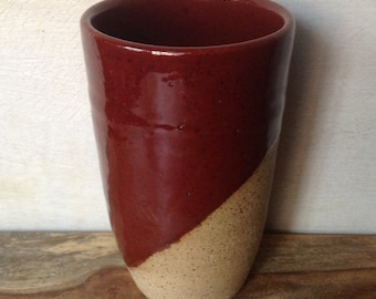 Ceramic Tumbler, Handmade Pottery Cup, Handless Mug, Rustic Red Tumbler, Tea Cup, Handmade Pottery Gifts, Handmade Pottery Tumbler