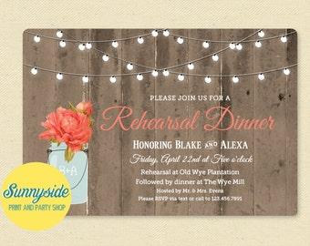 Rehearsal Dinner Invitation, Rustic Mason Jar Rehearsal Invite, Barnwood Twinkle Lights, Printable, You choose flower