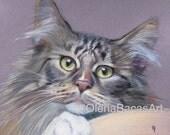 """Custom Cat Portrait 8""""x10""""- Custom Pet Portrait- Gift for Mom- Gift for Dad- Gift for Friend-Birthday Gift-Gift for Him- Gift for Her"""