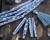 "Denim Tribal Tube : 2"" Handmade Large Hole Long Carved Barrel Bone Beads, 8x50mm, Natural Tribal Bone Jewelry Making Supplies, Boho, 4 Pcs"