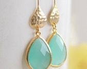 Simple Aqua Jewelry Drop Earrings in Gold. Jewel Dangle Earrings. Modern Jewelry.  Hammered Silver Jewel Earrings. Bridesmaid Jewelry.