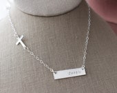 Sideways Sterling Silver Hand Stamped Faith Horizontal Bar & Cross Necklace- Faith, Christian, Religious