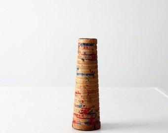 SALE vintage wood children's toy, spool crow sounder