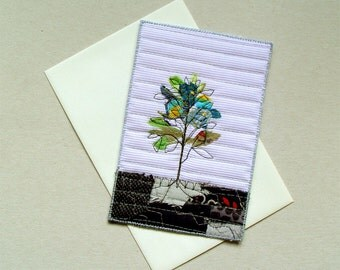 Birthday card, blue flowers, Fiber Art Card, small scale art, botanical flowers, Mother's Day card