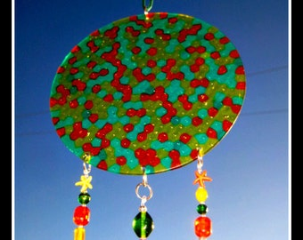Acrylic Yellow, Orange & Green Windchime with Beads