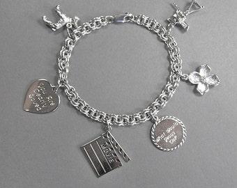 Vintage Sterling Charm Bracelet, JM Fischer & ROC