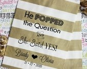 "ON SALE 100 Gold Metallic Personalized Wedding Candy Bags, ""He Popped the Question and She Said Yes!"" with Names and Date"