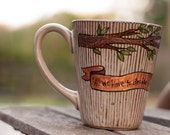 """J.R.R. Tolkien """"All we have to decide is what to do with the time that is given us"""" Hand painted, literary quote mug - LOTR - Large brown"""