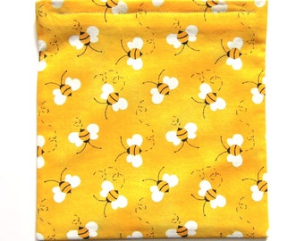 Reusable Sandwich Bag or Snack Bag: Bumble Bees