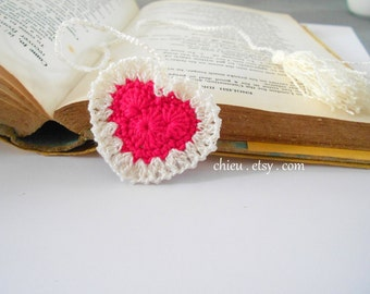 Heart Bookmark crochet cotton yarn 30 cm long HOT PINK Ivory tassel