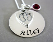 Personalized New Mommy Necklace, Baby Feet Name Necklace with Birthstone