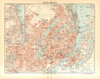 1905 Original Antique City Map of Copenhagen, Capital of Denmark