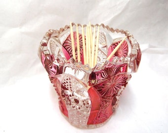 Vintage Toothpick Holder IMPERIAL glass Daisy with Button Clear and Red Luster EAPG