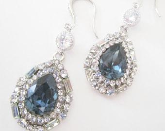 Teardrop Earrings, Navy Blue Earrings, Something Blue, Rhinestone Earrings,Blue Bridal Earrings,Chandelier Earrings, Blue Teardrop,Wedding