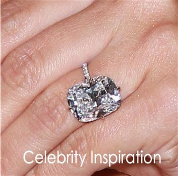 Kardashian Bands: Custom Celebrity White Sapphire & Diamond Cushion Engagement