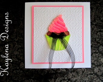 Hand Made Card Birthday card with cupcake
