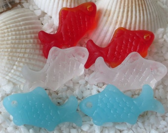 Beach Glass Fish Pendant/Earring Drop  - Cultured/Carved - 24mm x 12mm - 2 pcs -CHOICE OF COLOR