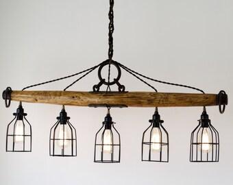 Five Light Rustic Industrial Yoke Chandelier