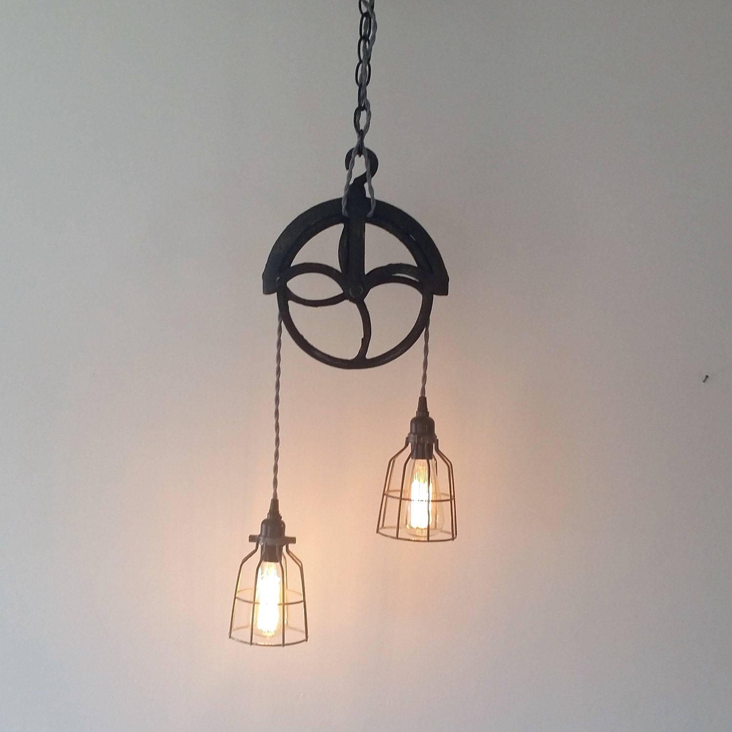 Industrial Pulley Pendant Light Unique Modern By Urbananalog