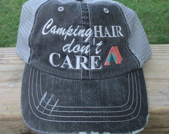 Camping Hair Don't Care with Tent Embroidered