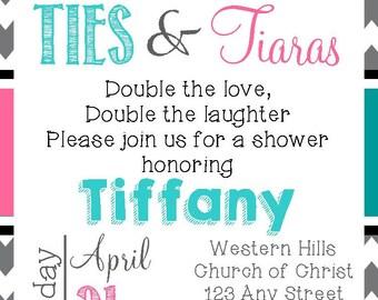 Ties and Tiaras Baby Shower, Birthday, Gender Reveal Twins, Siblings Invitation