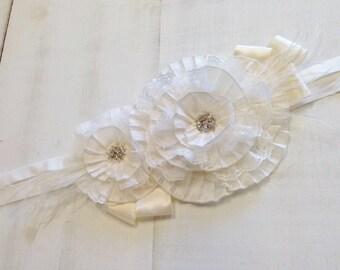 Shades of Ivory & Cream Rosette Wedding Maternity Bridal Sash