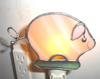LT Stained glass pink Pig Piggy night light lamp made with salmon pink opal glass and green glass