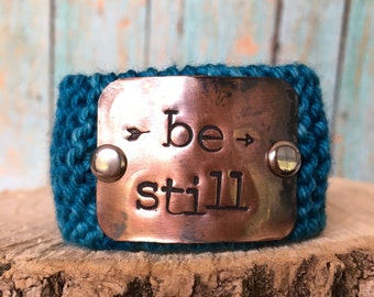 Be Still Blue Bracelet, Hand Stamped Bible Verse Bracelet, Christian Jewelry, Teacher Gift