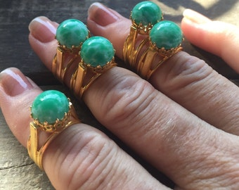 Cocktail Ring Adjustable Gold Mint Green 1970s Spain Deadstock