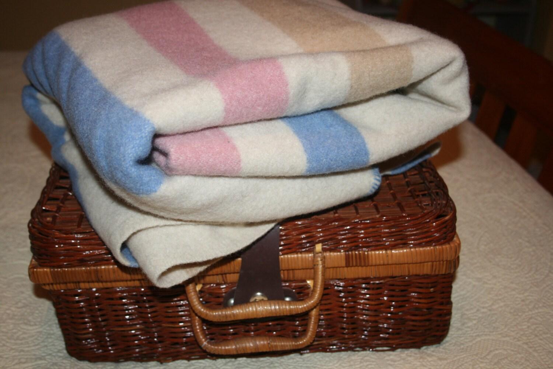 Vintage Pearce Woolrich Wool Blanket Hudson Bay Camp Blue Pink