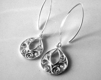 Simple Sterling Silver Earrings Silver Dangle Earrings Every Day Earrings Sterling Silver Filigree Drop Earrings Summer Earrings Lightweight