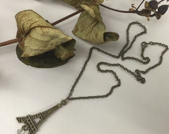 CA Paris Eiffel Tower Necklace w/Crystal_Vintage Gold