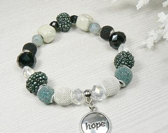 Hope Bracelet, Inspirational Bracelet, Blue Gray Bracelet, Summer Bracelet, Hope Jewelry, Gemstone Jewelry, Support Jewelry, Hope Charm