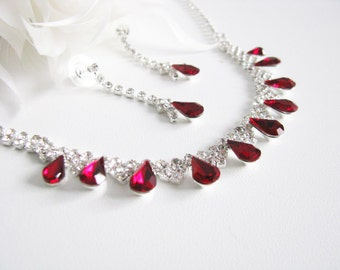 Siam Red 2 piece set Wedding Necklace Bridal Necklace - Bridal Jewelry - Wedding Necklace - bridal set- Backdrop Bridal Necklace