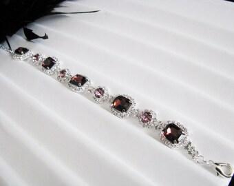 Purple Wedding Bracelet, Bridal Bracelet - Bridal Jewelry - Wedding Necklace - bridal set- Backdrop Bridal Necklace