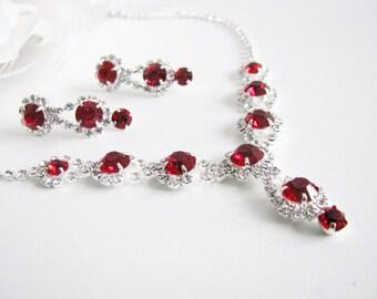Red 2 piece set Wedding Necklace Bridal Necklace - Bridal Jewelry - Wedding Necklace - bridal set- Backdrop Bridal Necklace