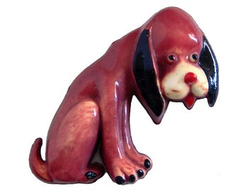 Adorable Vintage 1930s Celluloid Dog Brooch