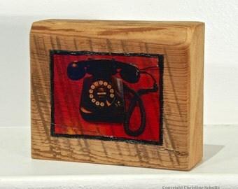 Phone Photo Transfer on Reclaimed Woodblock Original Art Handmade in Mississippi