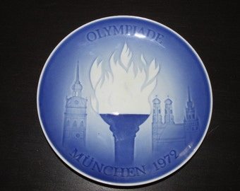 Collectible 1972 Munich Germany Olympics Royal Copehagen Blue and White Delft Plate