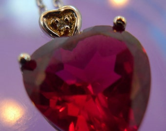 Sterling 925 Silver Red Ruby Heart w/ Small Diamond Heart Pendant Marked Italy  (66.173)