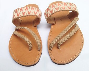 The Mesogeios Sandal - Peach Chevron