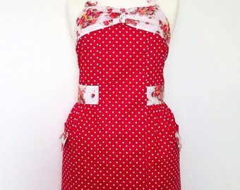 Retro apron with bow, white Polka Dots on red background, floral, fully lined.